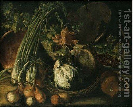 Onions, cabbage in a basket by Neapolitan School - Reproduction Oil Painting