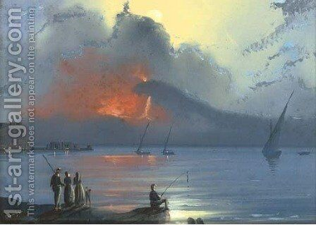 Vesuvius erupting at dusk by Neapolitan School - Reproduction Oil Painting