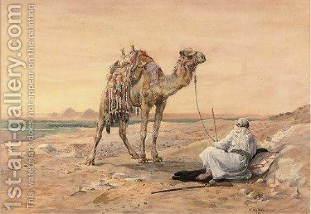 A Bedouin and his camel resting before going down to the Gates of Cairo by Nellie Hadden - Reproduction Oil Painting