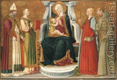 The Madonna and Child with a Bishop Saint, Saints Catherine of Alexandria, Margaret of Antioch and Francis of Assisi by Nero di Bicci - Reproduction Oil Painting