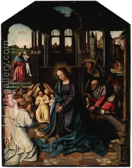 The Adoration of the Shepherds by Netherlandish School - Reproduction Oil Painting