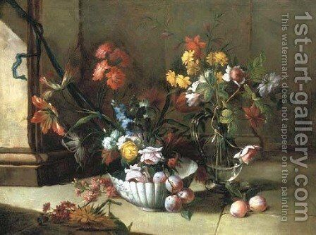 Roses, carnations and other flowers and plums in a porcelain bowl by Niccolino Van Houbraken - Reproduction Oil Painting