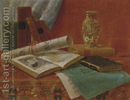 Still Life with Books and Newspaper by Nicholas Alden Brooks - Reproduction Oil Painting