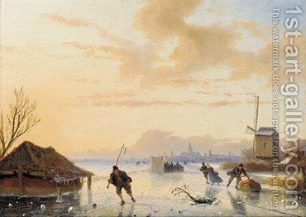 Skaters on a frozen river by Nicholas Jan Roosenboom - Reproduction Oil Painting