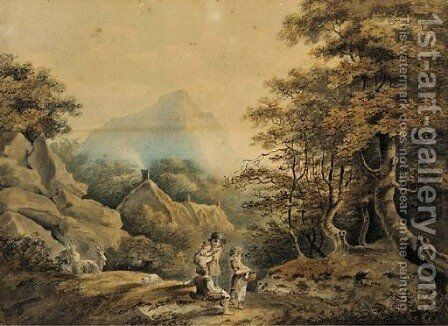 Children leading a ram in a wooded landscape; and Figures and goats resting by the wayside in a wooded landscape by Nicholas Pocock - Reproduction Oil Painting