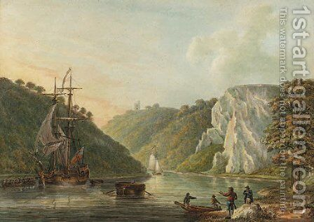 The Avon Gorge, from Hotwells by Nicholas Pocock - Reproduction Oil Painting