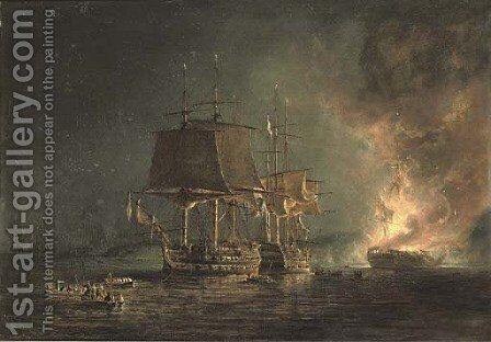 The burning of the Russian 74-gun Sewolod after she had been engaged and silenced by H.M.S. Implacable, Captain T. Byam Martin, in the Baltic by Nicholas Pocock - Reproduction Oil Painting