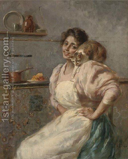 Kitchen companions by Nicola Biondi - Reproduction Oil Painting