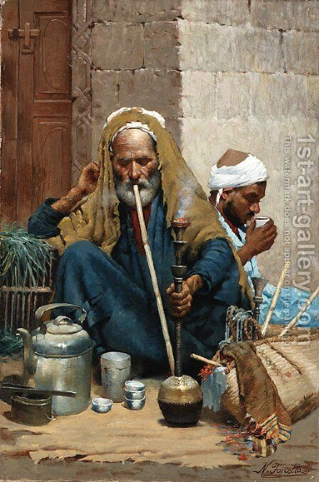 The hookah (The Old Carpet Seller) by Nicola Forcella - Reproduction Oil Painting