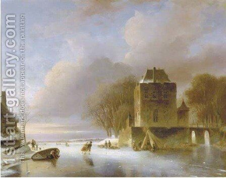 Skaters on a frozen river with a koek en zopie by a mansion by Nicolaas Johannes Roosenboom - Reproduction Oil Painting