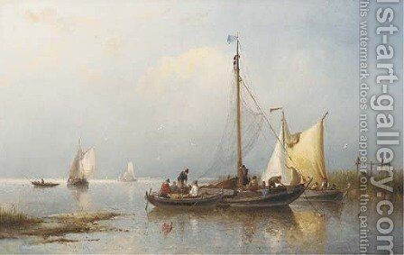 A calm fishermen inspecting their catch by Nicolaas Riegen - Reproduction Oil Painting