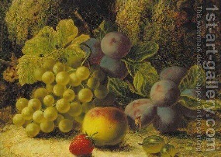 Grapes, plums, gooseberries, a peach, and a strawberry on a mossy bank by Oliver Clare - Reproduction Oil Painting