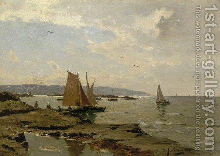 Summer sailing boats off the Swedish coast by August Jernberg - Reproduction Oil Painting