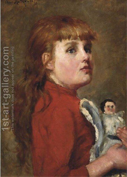 Young girl with her doll by Charles-Dominique-Oscar Lahalle - Reproduction Oil Painting