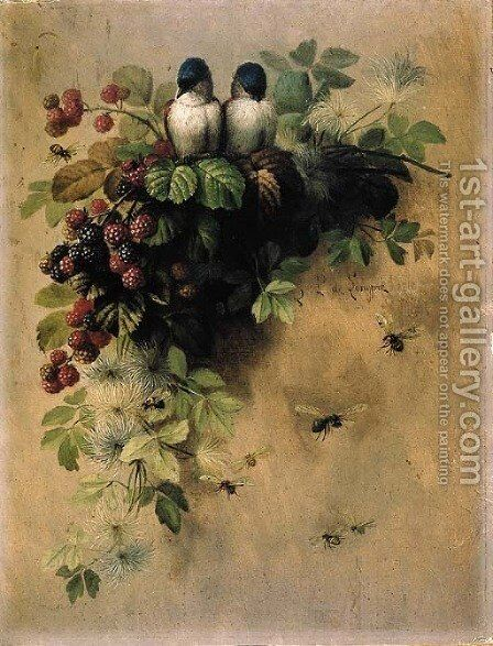 Birds, Bees and Berries by Paul DeLongpre - Reproduction Oil Painting