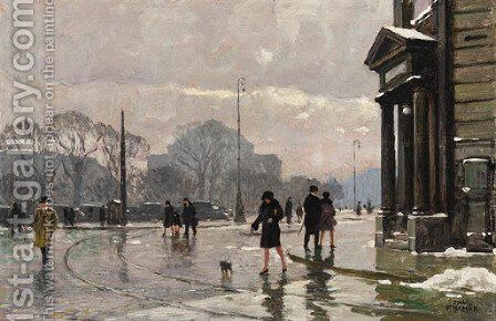Winter street scene, Copenhagen by Paul-Gustave Fischer - Reproduction Oil Painting