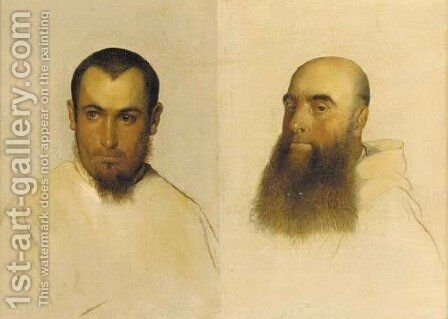 Head studies of monks by Hippolyte (Paul) Delaroche - Reproduction Oil Painting