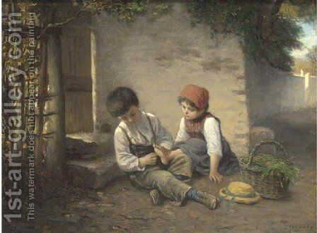 Helping little sister by Paul Seignac - Reproduction Oil Painting