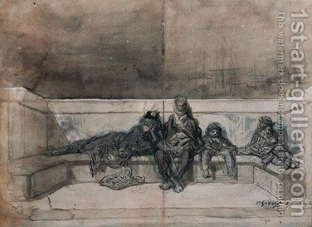 A Couple and two Children sleeping on a London Bridge by Gustave Dore - Reproduction Oil Painting