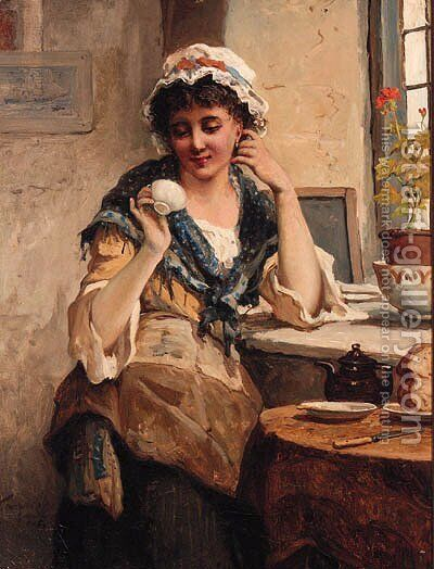 A Girl reading her Tea Leaves by Tennyson Philip Cole - Reproduction Oil Painting