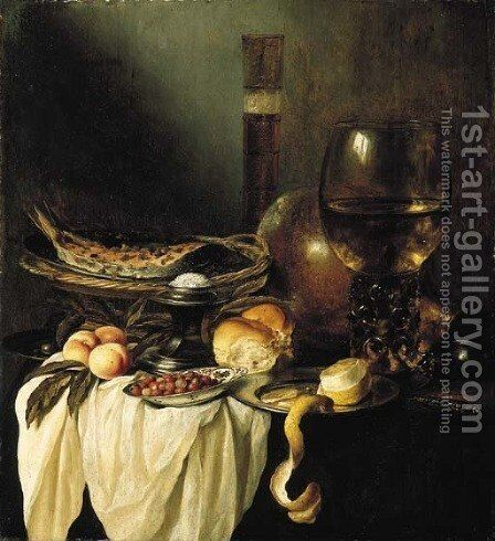 A dish of salmon cooked with herbs, a roemer of wine, a silver salt, a roll, wild strawberries in a Delftware bowl, a partly peeled by Pieter Claesz. - Reproduction Oil Painting