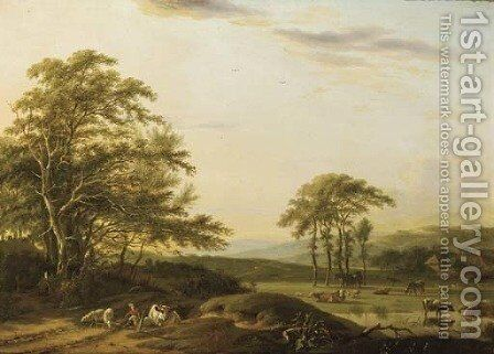 An Italianate river landscape with a shepherd and cattle by Barend Gael or Gaal - Reproduction Oil Painting