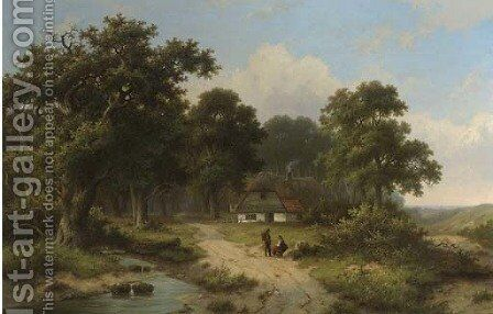 Peasants resting by a stream at the edge of a forest by Hendrik Pieter Koekkoek - Reproduction Oil Painting