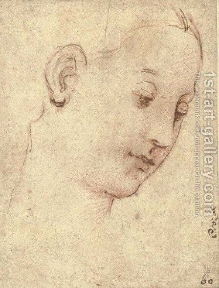 Head of the Madonna, in three-quarter profile to the right by Raphael - Reproduction Oil Painting