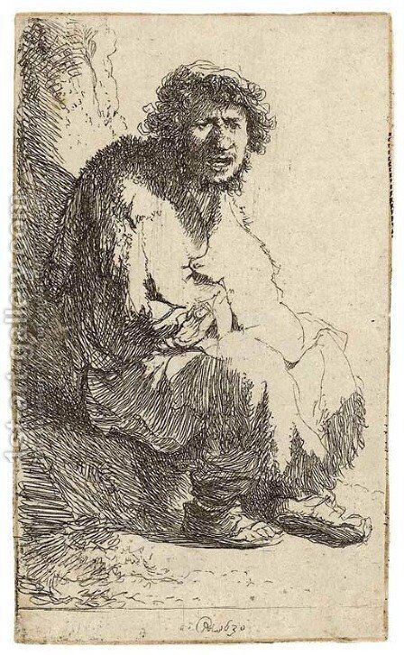 A Beggar seated on a Bank by Rembrandt - Reproduction Oil Painting