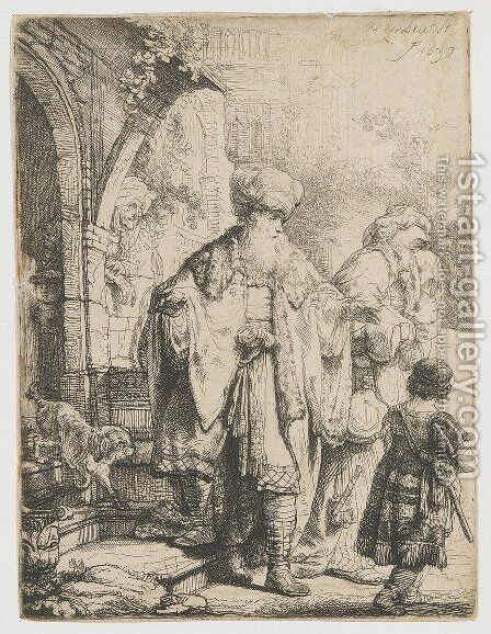 Abraham casting out Hagar and Ishmael by Rembrandt - Reproduction Oil Painting