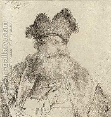 An old Man with a divided Fur Cap by Rembrandt - Reproduction Oil Painting