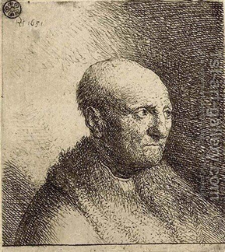Bald Man in a Fur Cloak Bust by Harmenszoon van Rijn Rembrandt - Reproduction Oil Painting