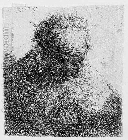 Bust of an old Man with a flowing Beard The Head bowed forward by Rembrandt - Reproduction Oil Painting