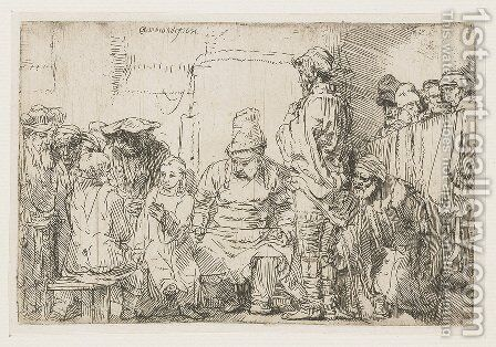Christ seated disputing with the Doctors by Rembrandt - Reproduction Oil Painting