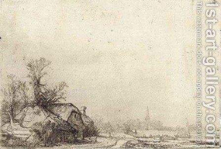 Cottage beside a Canal A View of Diemen by Rembrandt - Reproduction Oil Painting