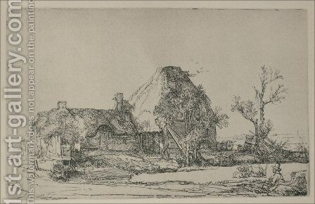 Cottages and Farm Buildings with a Man sketching by Rembrandt - Reproduction Oil Painting