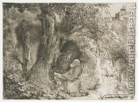 Saint Francis beneath a Tree praying by Rembrandt - Reproduction Oil Painting