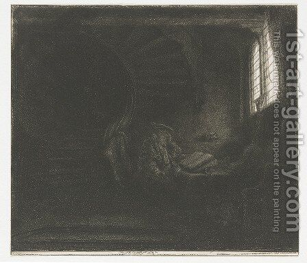 Saint Jerome in a dark Chamber by Rembrandt - Reproduction Oil Painting