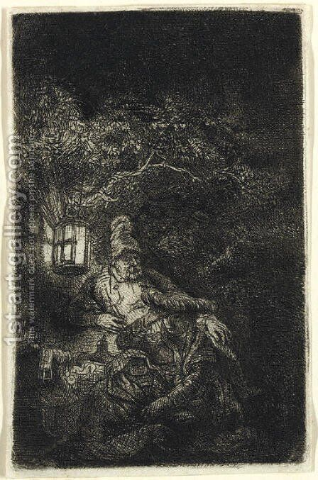 The Rest on the Flight into Egypt A Night Piece by Rembrandt - Reproduction Oil Painting