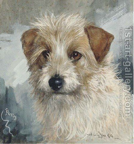Busty, the head of a wire haired terrier by Binks, R. Ward - Reproduction Oil Painting