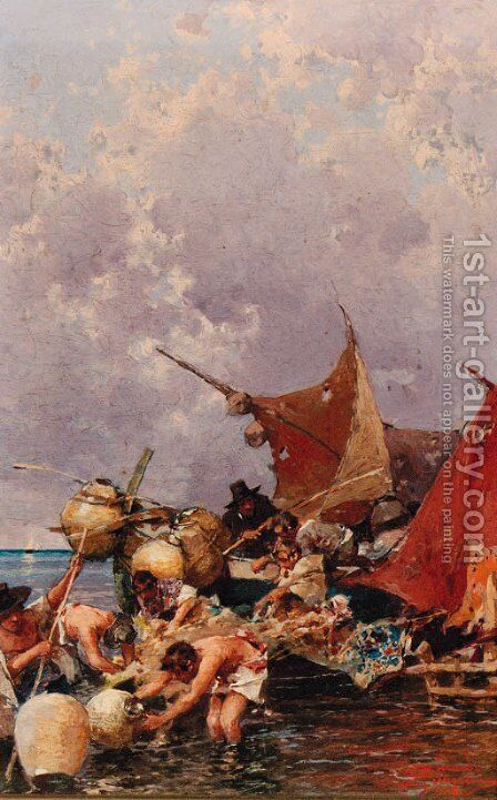 Fishermen bringing in the Catch by Carlo Pellegrini - Reproduction Oil Painting