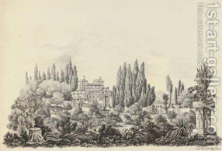 Twenty-eight drawings of Italian, French and English views including The Villa Albani by Harriet Cheney - Reproduction Oil Painting