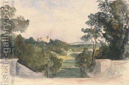 A view of Shrubland Hall, Suffolk by Harriet Cheney - Reproduction Oil Painting