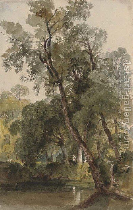 A woodland pond at Badger Dingle, Shropshire by Harriet Cheney - Reproduction Oil Painting