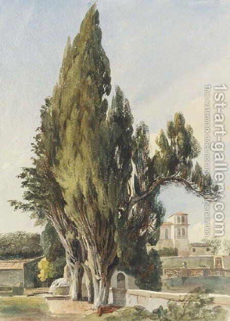 Cypresses at the Villa Albani by Harriet Cheney - Reproduction Oil Painting
