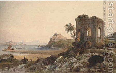 The Castel dell'Ovo on a promontory above the Bay of Naples by Harriet Cheney - Reproduction Oil Painting