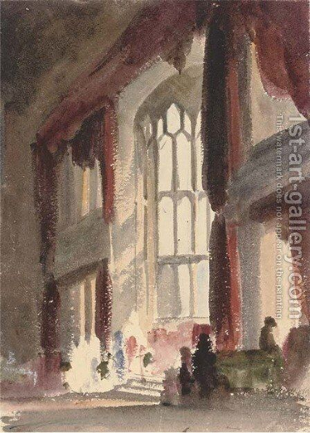 The Great Hall at Fawsley, Northamptonshire by Harriet Cheney - Reproduction Oil Painting
