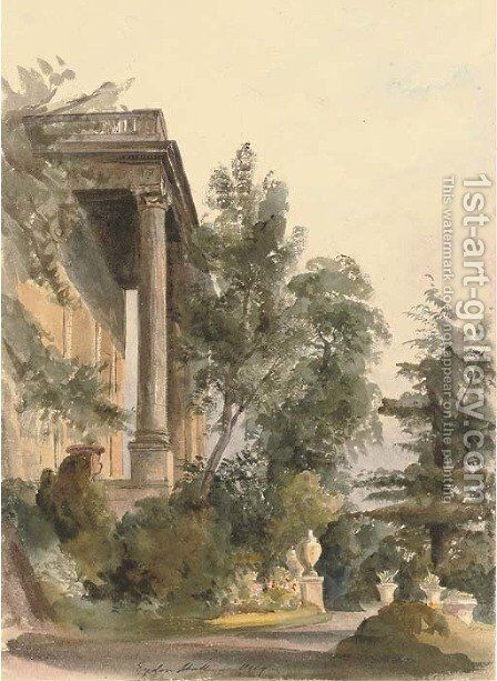 The portico at Eydon Hall, Northamptonshire by Harriet Cheney - Reproduction Oil Painting