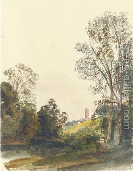 View of Ludlow, Shropshire by Harriet Cheney - Reproduction Oil Painting