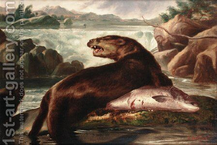 Otter and Salmon by A. Roland Knight - Reproduction Oil Painting